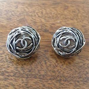 Vintage Chanel silver earrings